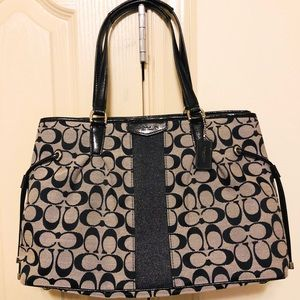 Coach purse black and grey with signature print